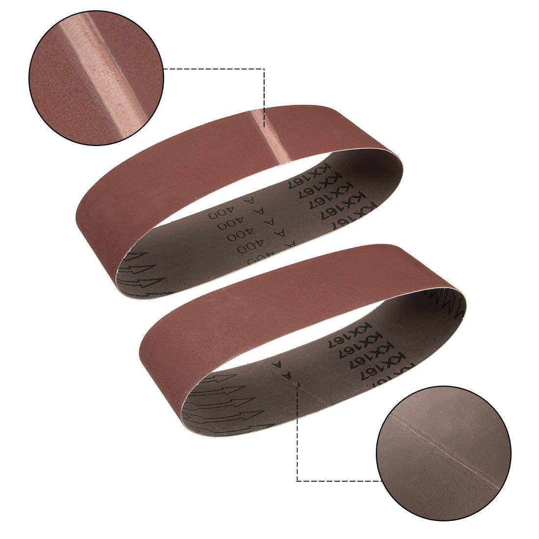uxcell 3-inch x 21-inch 80-Grits Sanding Belt Aluminum Oxide Sand Belts for Belt Sander 5pcs