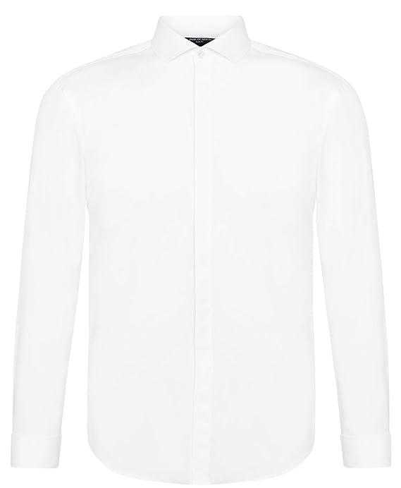 PABLO CASSINI Smokinghemd Weiß verdeckte Knopfleiste Manschettenknöpfe