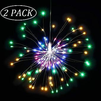 120 lumi/ères Qtiwe Lumi/ères D/écoratives de Feux dArtifice Lumi/ère de Feux dartifice LED dExplosion de Ficelle de Fil de Cuivre de Bo/îte de Batterie /à T/él/écommande IP65 /étanche