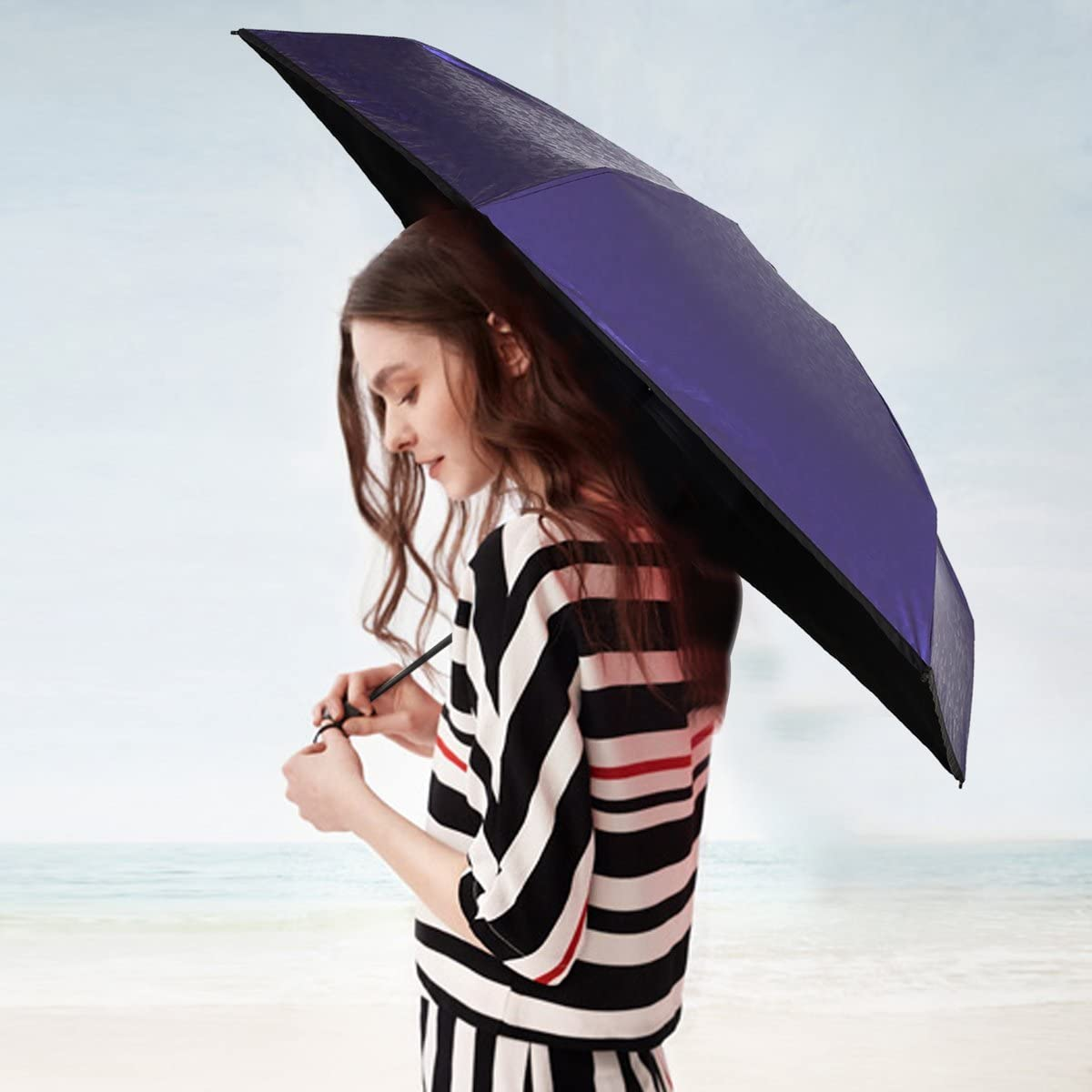 Rauiong Travel Mini Ultralight 6.7 ,Open Diameter Compact UV Umbrella with Gift Case for Women Purse Handbag 38.6 7.4oz