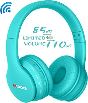 Amazon Com Midola Volume Limited 85db Kids Headphone Bluetooth Wireless Over Ear Foldable Stereo Sound Noise Protection Headset With Aux 3 5mm Cord Mic For Boys Girls Cellphone Ipad Tablets Tv Notebook Cyan Electronics