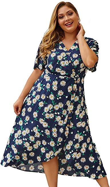 Koerim Mujer Vestido Tallas Grandes Manga Corta Vestido Cruzado Con Estampado Floral Vestidos Midi Cuello En V De Algodon Amazon Es Ropa Y Accesorios