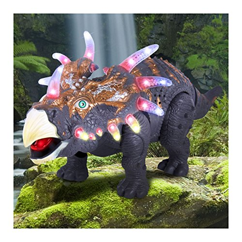 Walking Dinosaur Triceratops Toy Figure with Many Lights & Sounds, Real Movement Toys for Kids from Unbranded