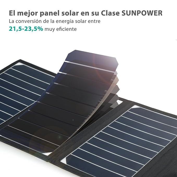 RAVPOWER Cargador Panel Solar 16W (Dual USB Puertos, Inteligente ...