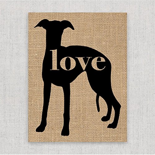 Whippet Love: An Unframed 8x10 Dog Breed Wall Art Print on Your Choice of Fine art Paper or Laminated Burlap (Can be Personalized)