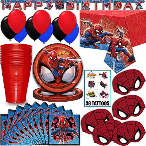 Spider-Man Party Supplies, Serves 16 - Plates, Napkins, Tablecloth, Cups, Balloons, Birthday Banner, Tattoos, Masks - Full Tableware, Decorations, Favors for Marvel Superhero Fans