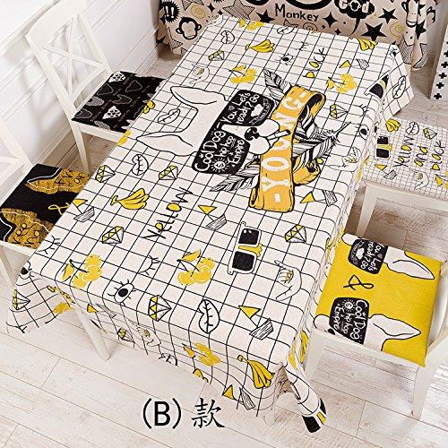 BlauLSS Mode Persönlichkeitsmuster Baumwolle und Leinen Tischdecke für Esstisch Kaffee Tabellen Tabelle Tuch, D, 140 x 100 cm 110x110cm B
