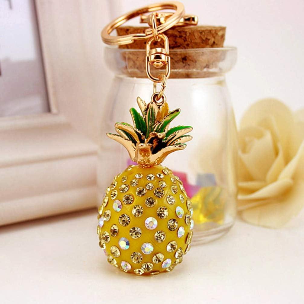 EXCEART 1 unid llavero colgante llavero cristal pi/ña colgante llavero fruta dise/ño llavero para bolso bolso coche colgante decoraci/ón amarillo