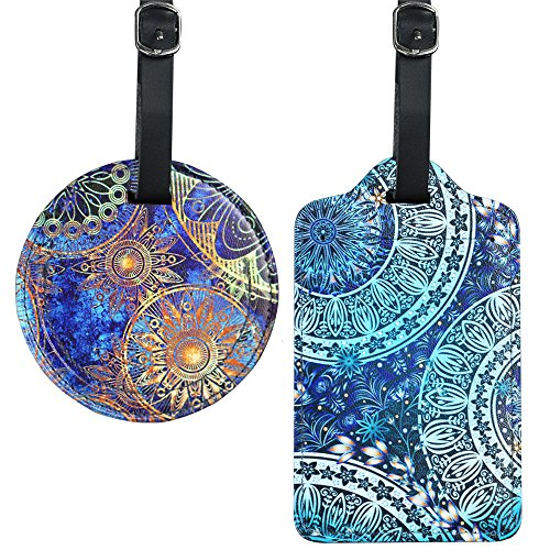 Cheliz PU Leather Round+Square Luggage Tags Suitcase Labels Bag - Set of 2(Flower) (Square Luggage Tag)