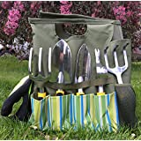 8 pieces Gardening Tools Set Tote , Kit includes a set of 5 Ergonomic Garden Tools ,a pair of Gardening Gloves , Eva Knee Protetion Kneeling Pad & Tool Organizer / Storage Bag by GardeniaHOME&GARDEN
