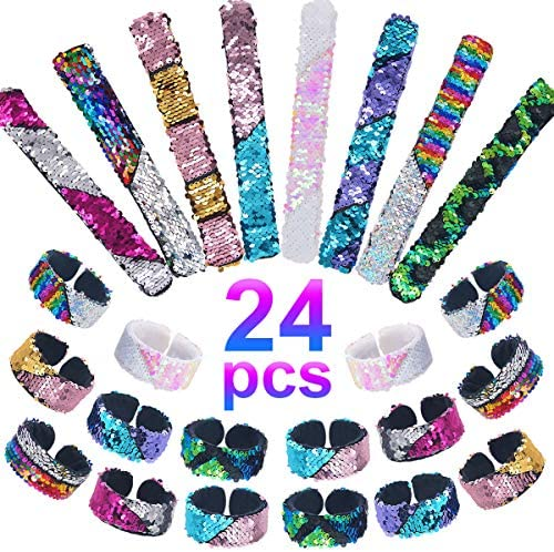 Pawliss 24 Pack Little Mermaid Magic Charm Reversible Sequin Slap Bracelets Birthday Party Favors Supplies Gifts for Girls Kids Pink Blue Purple