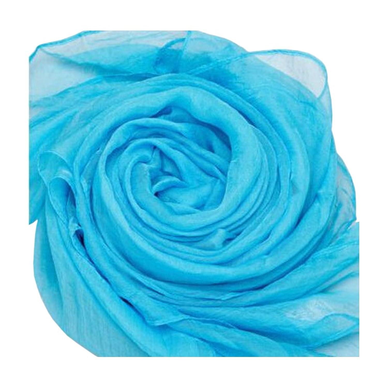 Sky blue Lady Women Fashion Stylish Soft Silk Chiffon solid Scarf Wrap Shawl Stole hot