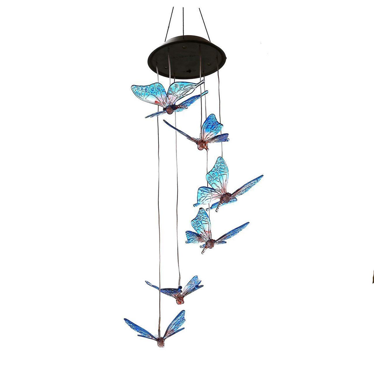 SINLOOG Solar Wind Chimes Outdoor, Solar lights Wind Chime Solar Powered LED Hanging Lamp Solar Mobile Wind Chimes for Outdoor Garden Decoration (butterfly)