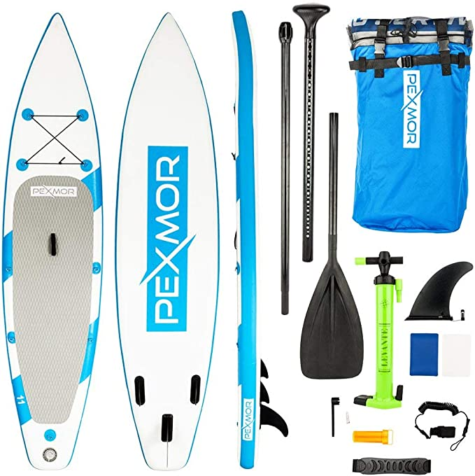 PEXMOR 11 Inflatable Stand Up Paddle Board (6 Inches Thick) with SUP Accessories & Carry Bag | Wide Stance, Bottom Fin for Paddling, Surf Control, ...