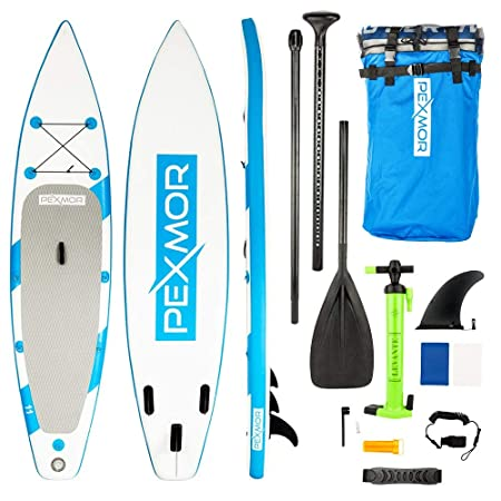 Pexmor 11 Inflatable Stand up Paddle Board 6 inches Thick with SUP Accessories Carry Bag Wide Stance, Bottom Fin for Paddling, Surf Control, Non-Slip Deck Youth Adult Standing Boat