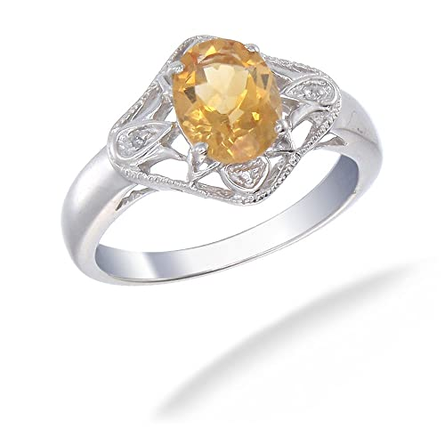 Sterling Silver Citrine Diamond Ring 1.73 CT