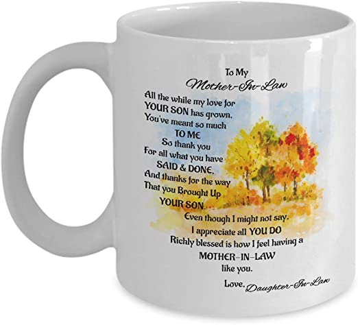 Amazon Com To My Mother In Law Mug Mother In Law Gifts From Daughter In Law Great Gift Ideas For Christmas Birthday Mothers Day Kitchen Dining