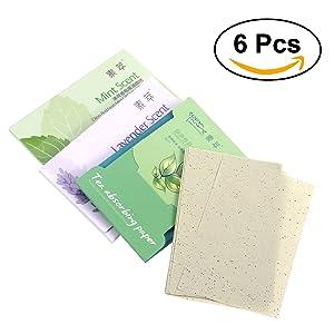 Frcolor Papel Absorbente para Cara Aroma Lavanda Menta y Té Verde Paquete de 6