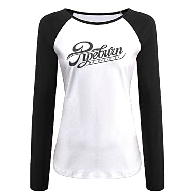1a8644bc0ab9bd Pipeburn Motor Cycles Logo Casual Black Women's Long Sleeve Raglan T-shirt