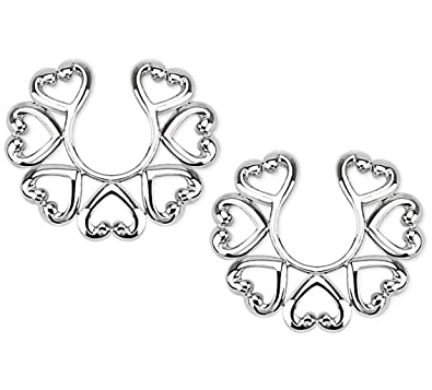 Amazoncom Vintage Hearts Clip On Non Pierce Nipple Rings Sold As