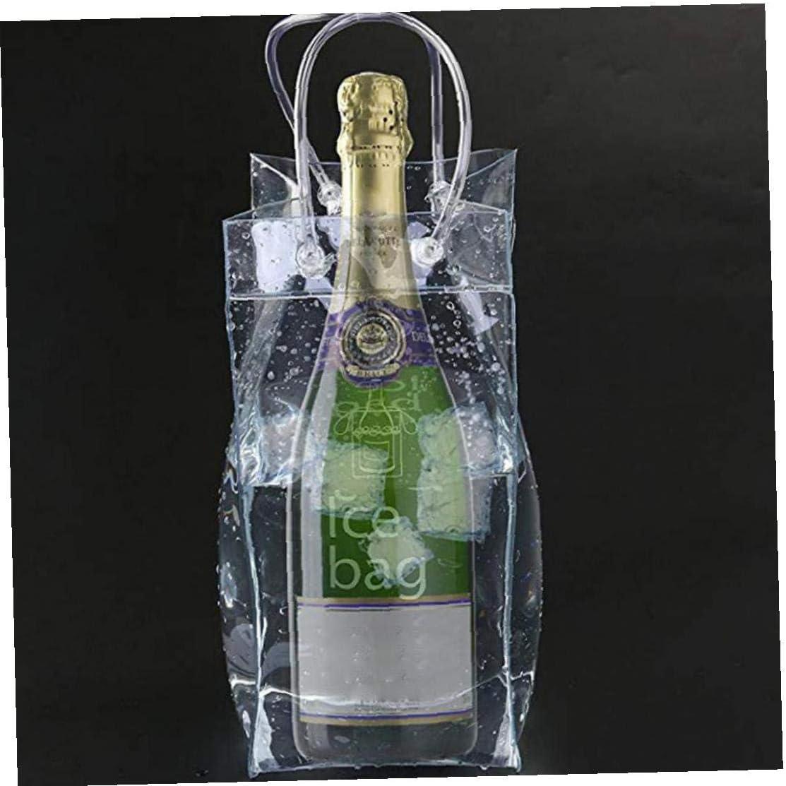 Vino 2pcs Hielo Bolsa Port/átil Plegable De PVC Transparente Claro De Hielo Bolsa Bolso M/ás Fresco con Mango De Vino Blanco Champagne Cerveza Fr/ía