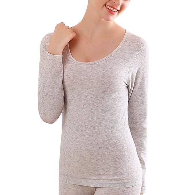 Saoye Fashion Buena Interior De Cuello Redondo Sin Costura Body Tight Ropa Warm Plus Velvet T