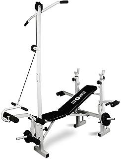 Klarfit HB2RT Banco de pesas • Banca de Musculación completo para casa • Incluye Barra,