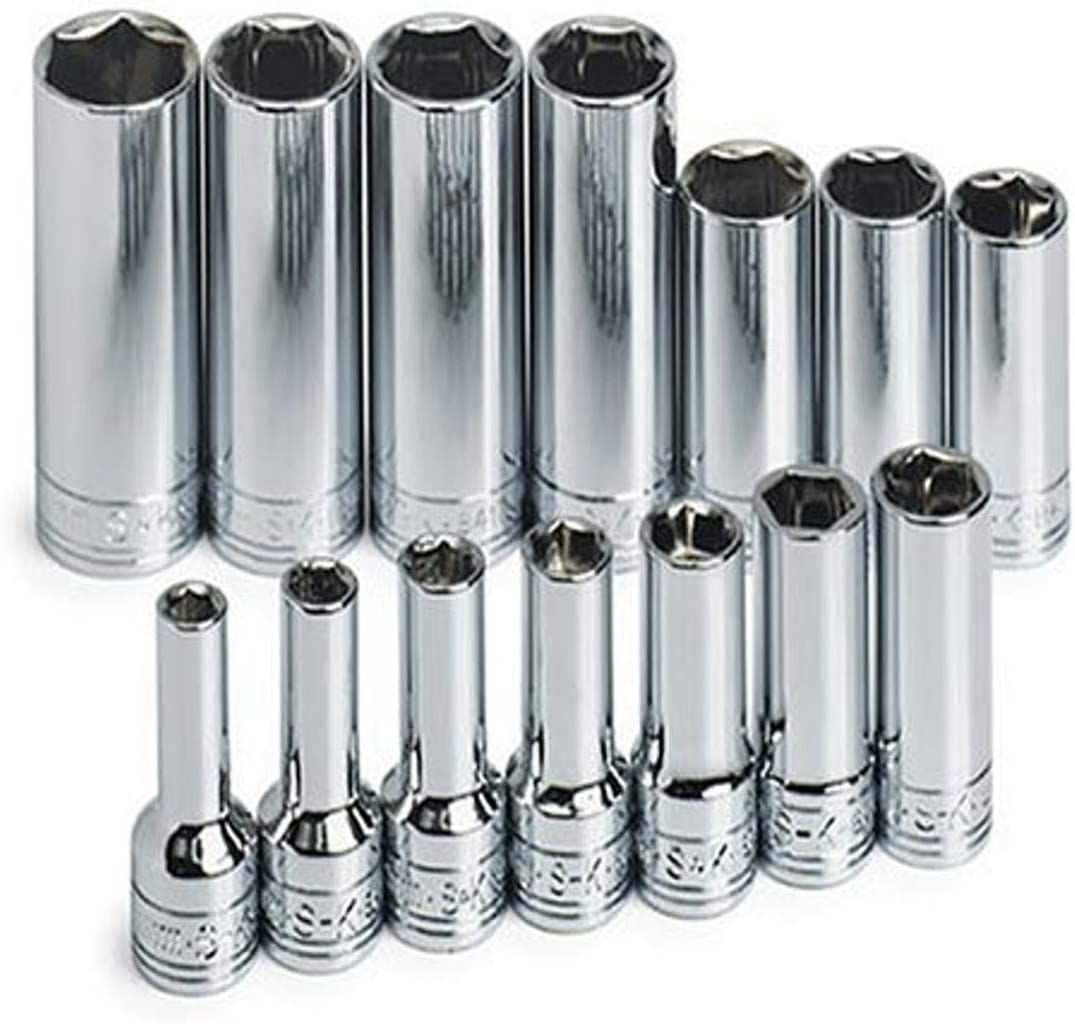 SK Professional Tools 1854 14-Piece 3/8 in. Drive 6-Point Deep Metric Socket Set - Chrome Socket Set with Super Chrome Finish   Set of 11 Sockets Made in USA