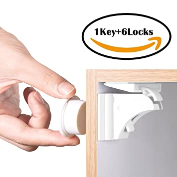 f8cbb2f7e56 Amazon.com   BETENSE Child Safety Magnetic Cabinet Lock No Tools Or Screws  Needed Baby Safety Locks Kids Toddler Proofing Hidden Cupboard Drawer  Locking ...