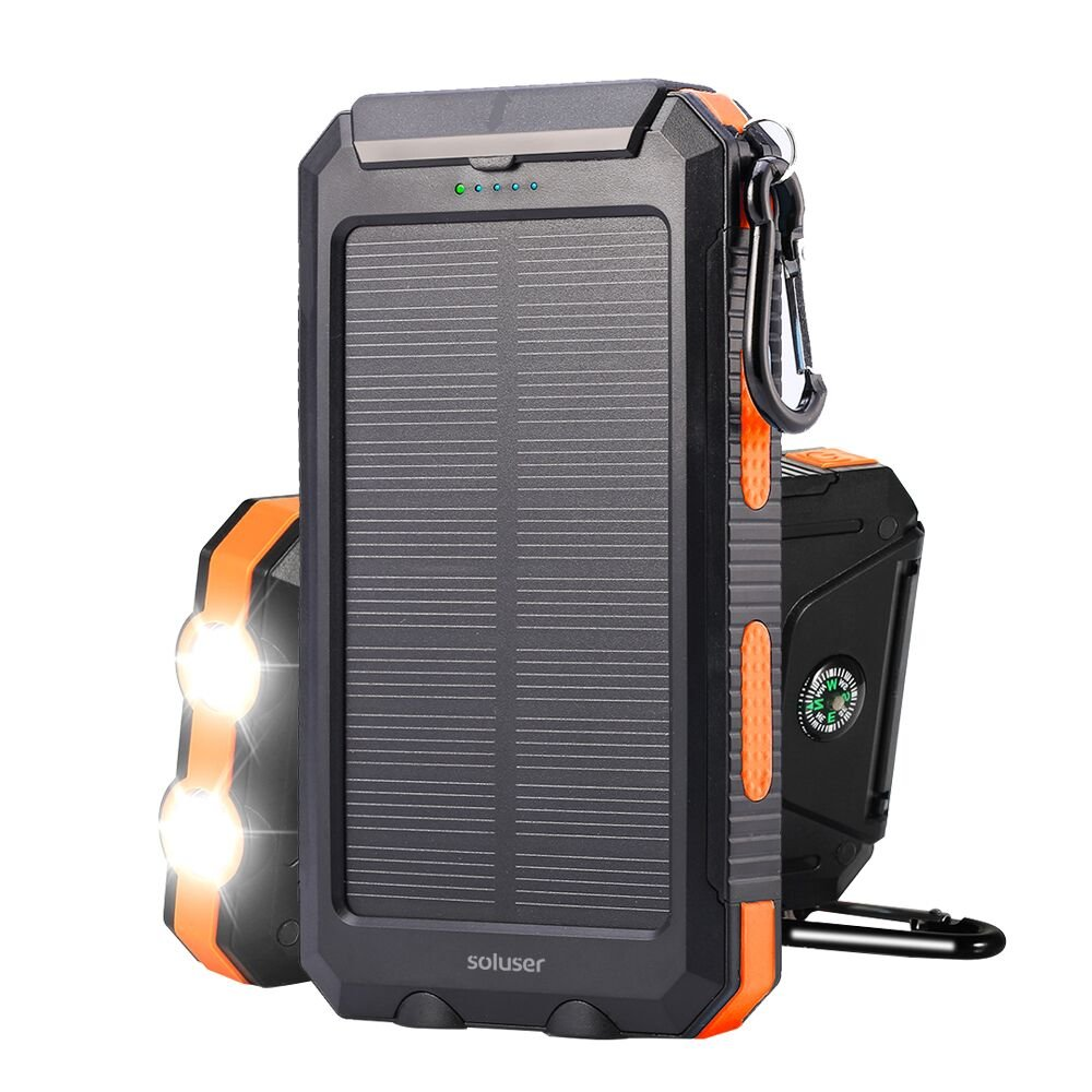 Solar charger Soluser 10000mAh Portable Solar Power Bank, IP67 Waterproof Dual USB Ports Battery Bank with 2 LED Flashlight, Compass for smart Phone, cell Phone, iPhone, Samsung, lg phone, Android pho by Soluser