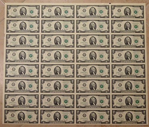 2009 UNCUT SHEET 32 SUBJECT TWO DOLLAR BILLS UNITED STATES CURRENCY MONEY $2