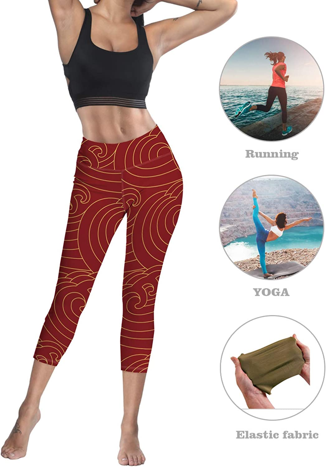 Printed Leggings for Women Ancient Wood Material 3//4 High Waist Yoga Pants Sport Gym Leggings Workout