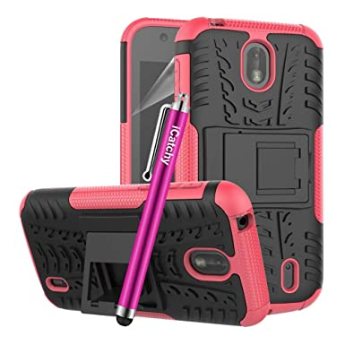 new product 06c94 1407e VA For Nokia 1 Phone Case Hybrid Rugged Armor Shockproof Kickstand  Protective Back Cover For Nokia 1 (Pink)