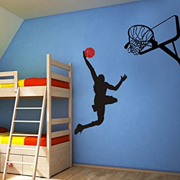 Delightful Amazon.com: Vinyl Basketball Wall Decal Basketball Action Wall Decor  Dunking Ball Into The Net   Vinyl Wall Art Sticker Wall Graphic Home Wall  Design ...