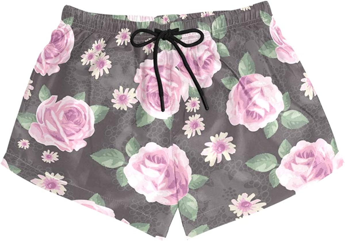 HEOEH Womens Rose Daisy Floral Pink Beach Shorts Pants Ladies Boardshort Swimming Trunks