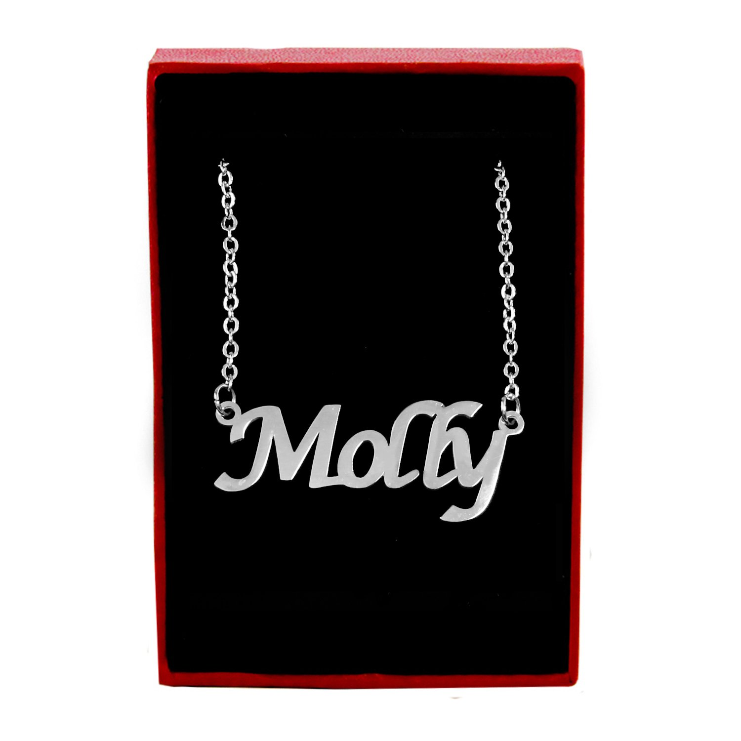 Zacria Molly Name Necklace - Silver Tone Gifts International Molly-Type3-S-18