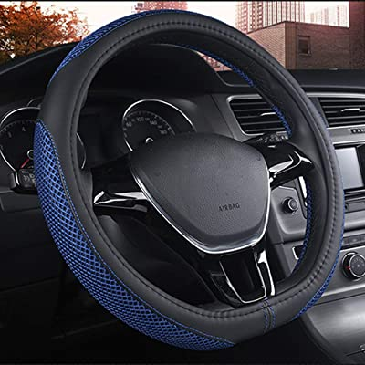 "DC Steering Wheel Cover D Type Microfiber Leather with Viscose Anti-Slip Universal 15""/38cm (D-Type Blue): Automotive"