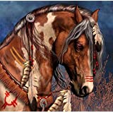 """DIY Diamond Painting Cross Stitch Animal Brown Horse Feather Rubik 5D Pictures of Crystal Embroidery Mosaic Kits 30x30cm(12x12"""")"""