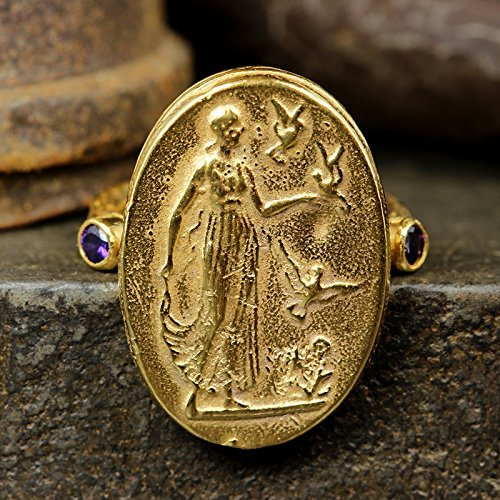 Ancient Roman Art Signet Greek Coin Ring 925 Sterling Silver 24K Yellow Gold Vermeil Handcrafted Artisan Jewelry ()
