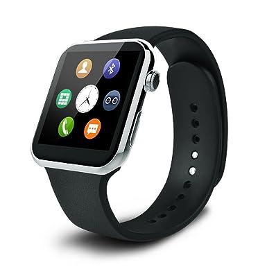 pandaoo Heart Rate Monitor Reloj Inteligente Hombre Correa De Piel Reloj de Muñeca para fitness Sport