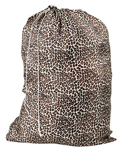 Nylon Laundry Bag - Locking Drawstring Closure and Machine Washable. These Large Bags Will Fit a Laundry Basket or Hamper and Strong Enough to Carry up to Three Loads of Clothes. (Leopard)