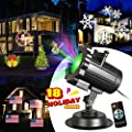 Zeonetak All Year Holiday Projector Light 18 Patterns Interchangeable Led Christmas Lights Valentine's Day Birthday Wedding Party New Year Independence Day Home Decoration?10-15ft Projection Distance?