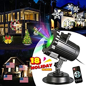 Zeonetak All Year Holiday Projector Light 18 Patterns Interchangeable Led Christmas Lights Valentine's Day Birthday Wedding Party New Year Independence Day Home Decoration(10-15ft Projection Distance)