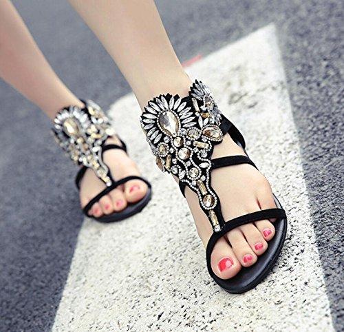 Bohemian DANDANJIE Flip Style caseros Moda Flat Europa Ladies Shoes Zapatos Flops Las Rhinestone Summer Negro de Mujeres Sandalias yqqapfI
