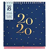 Busy B Desktop Calendar January to December 2020 - Navy Spot Planner with Pockets & Built-in Stand