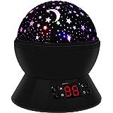 Sternenhimmel Projektor Lampe, LED Nachtlicht Baby Rotierend mit 4 LED Birnen, 8 Licht Modus und 2 Energieversorgung, Timer-Schalter Sky-Star Night Light für Kinder Erwachsenen Schlafzimmer (Schwarz)