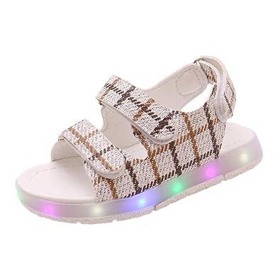 fd0135441186b OHQ Enfants Plaid LED Light Shoes Chaussures de Course Sandales Sport Kaki  Blanc Rose Toddler Kids