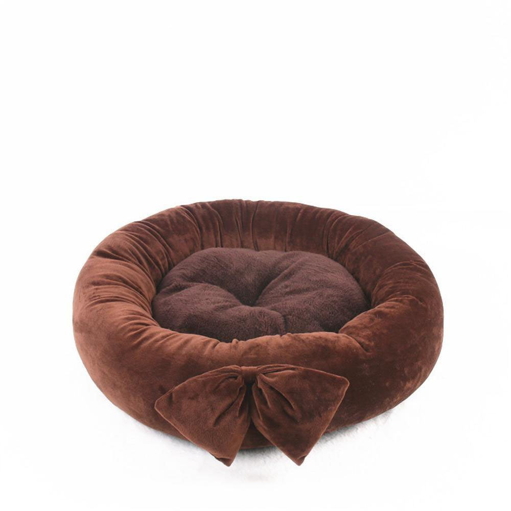 B 55cmBiuTeFang Pet Bolster Dog Bed Comfort Small and mediumsized dog pet nest cushion cat nest Butterfly knot round kennel Four Seasons