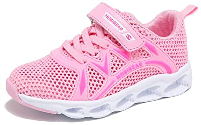 SEECEE Kinder Mädchen Turnschuhe Sneaker Sommer Sportschuhe Laufschuhe  Atmungsaktiv Fitnessschuhe Rutschfest Freizeit Schuhe mit Klettverschluss  Rosa 4fb4968020