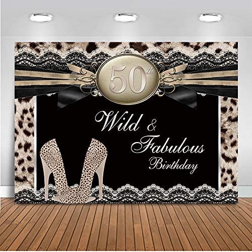 Mehofoto Leopard Print 50th Birthday Backdrop Cheetah High Heels Lace Photography Background 7x5ft Vinyl Wild Fabulous 50th Birthday Party -